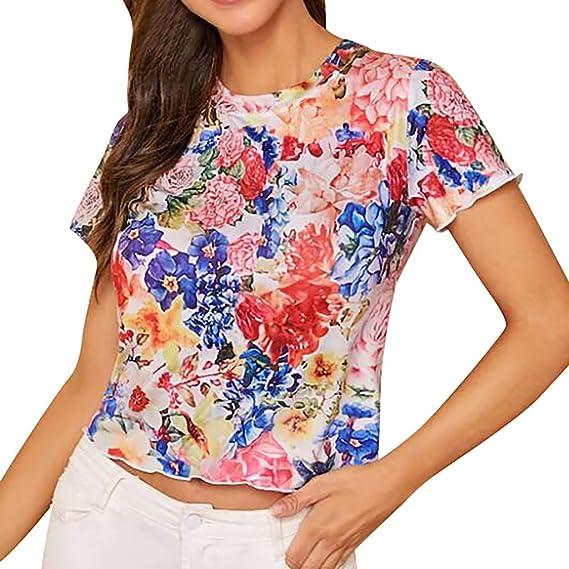 Fashion Womens Plus Size Aquarelle  Cold Shoulder Floral Print T-shirt Tops USA