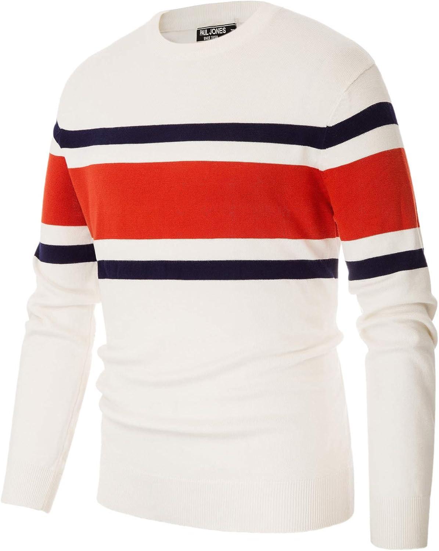 PJ PAUL JONES Mens Basic Crewneck Striped Pullover Sweater Color Block Fine Knitted Sweaters