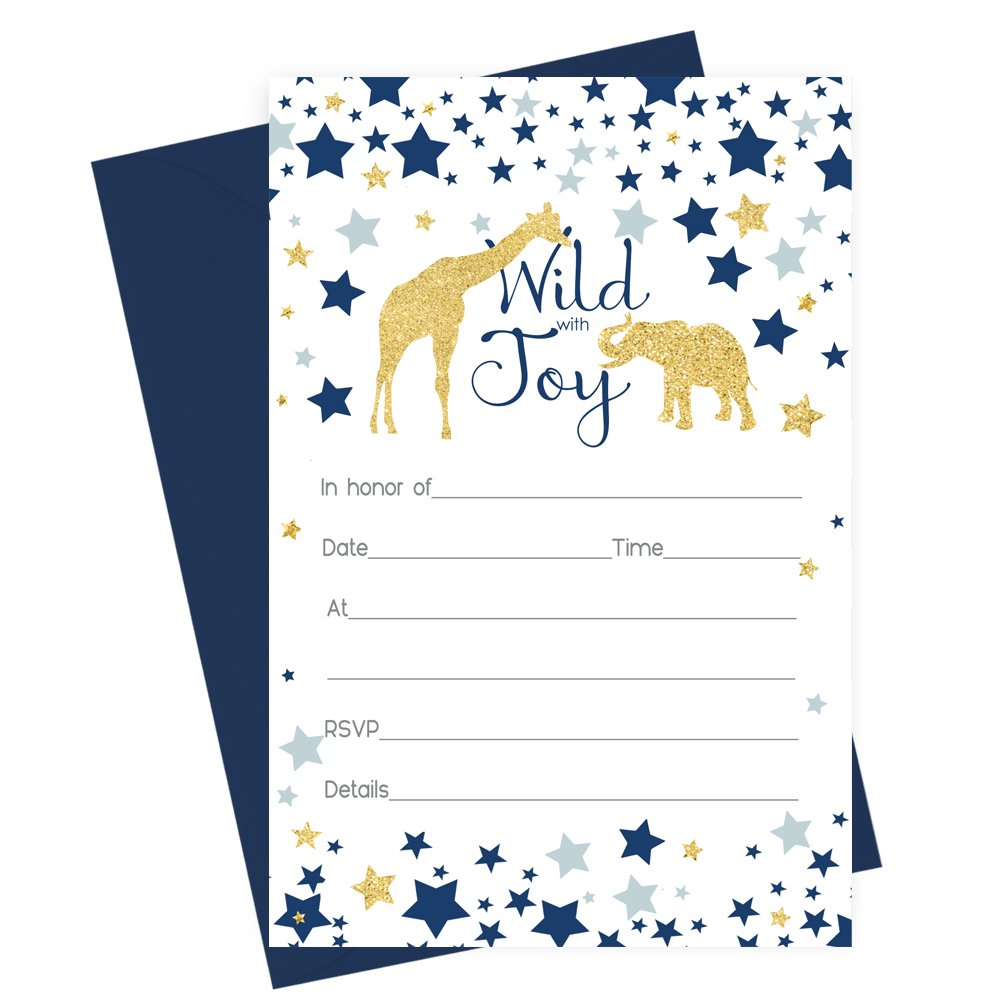 15 Safari Animal Invitations with Navy Blue Envelopes