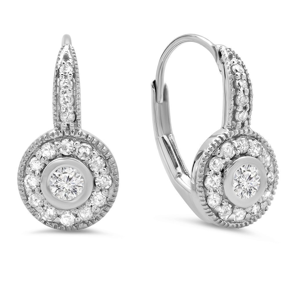 0.40 Carat (ctw) 14k White Gold Round Cut Diamond Ladies Cluster Halo Style Drop Earrings