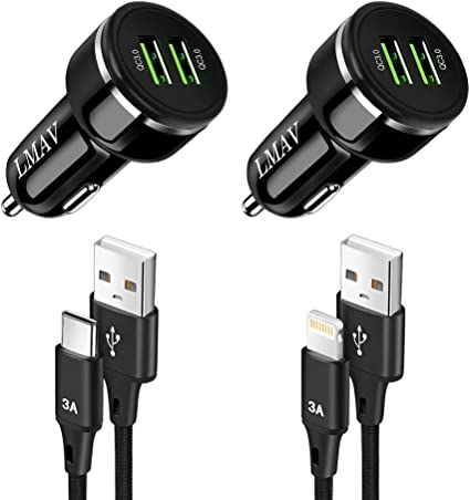 Two Ports QC 3.0 3A 2020 Metal Non-Slip Thread Car Charger by AIFFERA Galaxy S10 S9 S8 S7 Note LG Nexus etc Compatible with Any iPhone Quick Charge 3.0 Dual USB 6A//36W Fast Car Charger Adapter