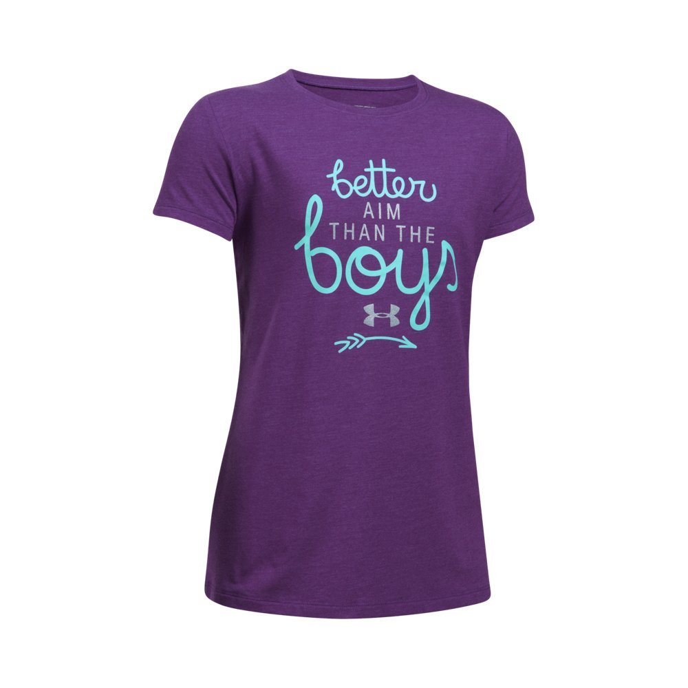 Under Armour Girls' Better Aim T-Shirt,Indulge Medium Heath (548)/Blue Infinity, Youth X-Small by Under Armour