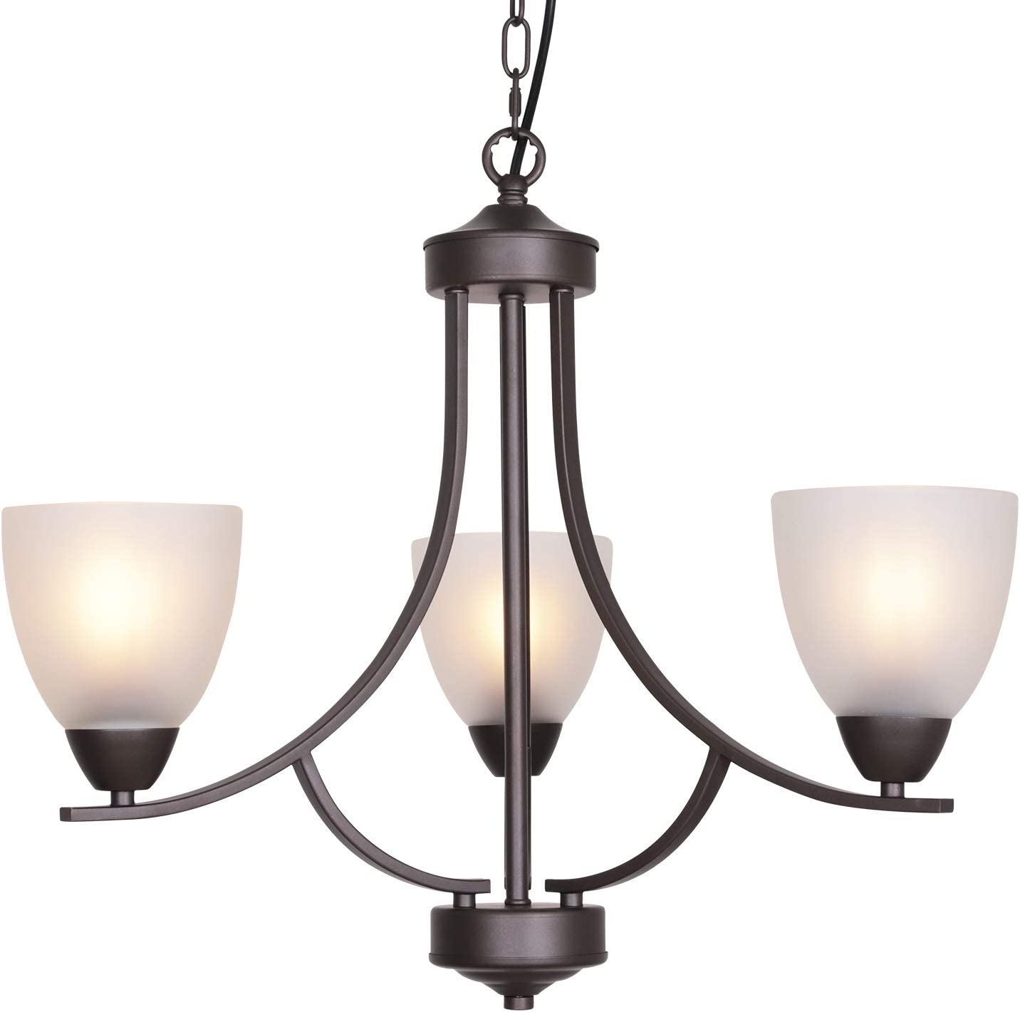 VINLUZ 3 Light Shaded Contemporary Chandeliers with Alabaster Glass Oil Rubbed Bronze Modern Light Fixtures Ceiling Hanging Mid Century Pendant Lighting for Dining Room Living Room Hallway Bedroom