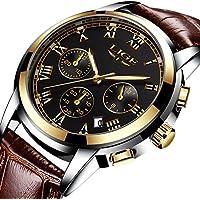 Men Leather Strap Watches Men's Chronograph Waterproof Sport Date Quartz Wrist watch Black gold