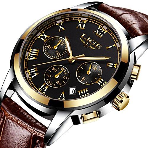 Men Leather Strap Watches Men's Chronograph Waterproof Sport Date Quartz Wrist Watch Black Gold by LIGE