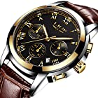 Men Leather Strap Watches Men's Chronograph Waterproof Sport Date Quartz Wrist watch Black gold