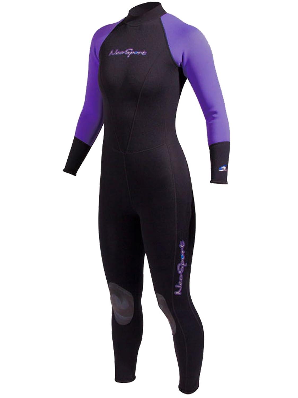 NeoSport Neoskin Womens Back-Zip Full Wetsuit Black//Purple 12 Petite