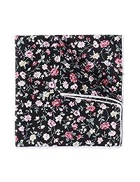 Men's Pocket Square Cotton Floral Printed Formal Handkerchief Vintage Kerchief Black
