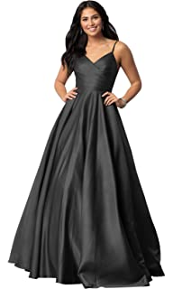 1d7692d6492d Women's Spaghetti Strap A Line V Neck Satin Prom Dress Long Evening Formal  Party Dress Ruched