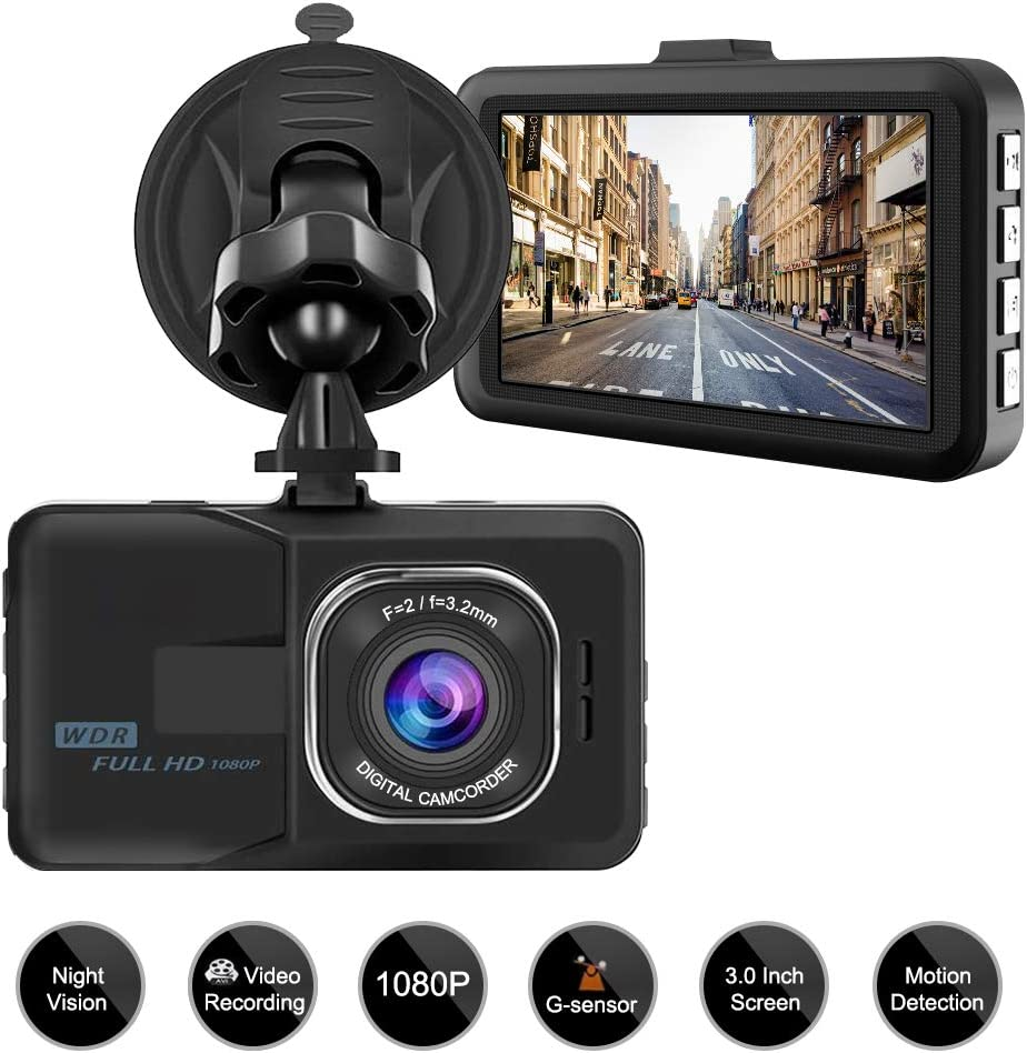 """Aigoss Dash Cam Video Camera Recorder for Cars, 1080P Full HD 3"""" LCD Screen Driving Recorder with Wide Angle& Super Night Vision, Support G-Sensor/Parking Monitor/Loop Recording/Motion Detection"""