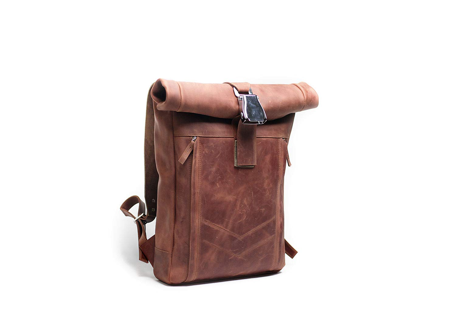 Custom Leather Men Laptop roll top Shoulder Satchel backpack Rucksack Travel