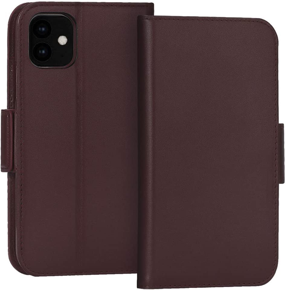 """FYY Case for iPhone 11 6.1"""", Luxury [Cowhide Genuine Leather][RFID Blocking] Wallet Case, Handmade Flip Folio Case Cover with [Kickstand Function] and[Card Slots] for Apple iPhone 11 6.1"""" Brown"""