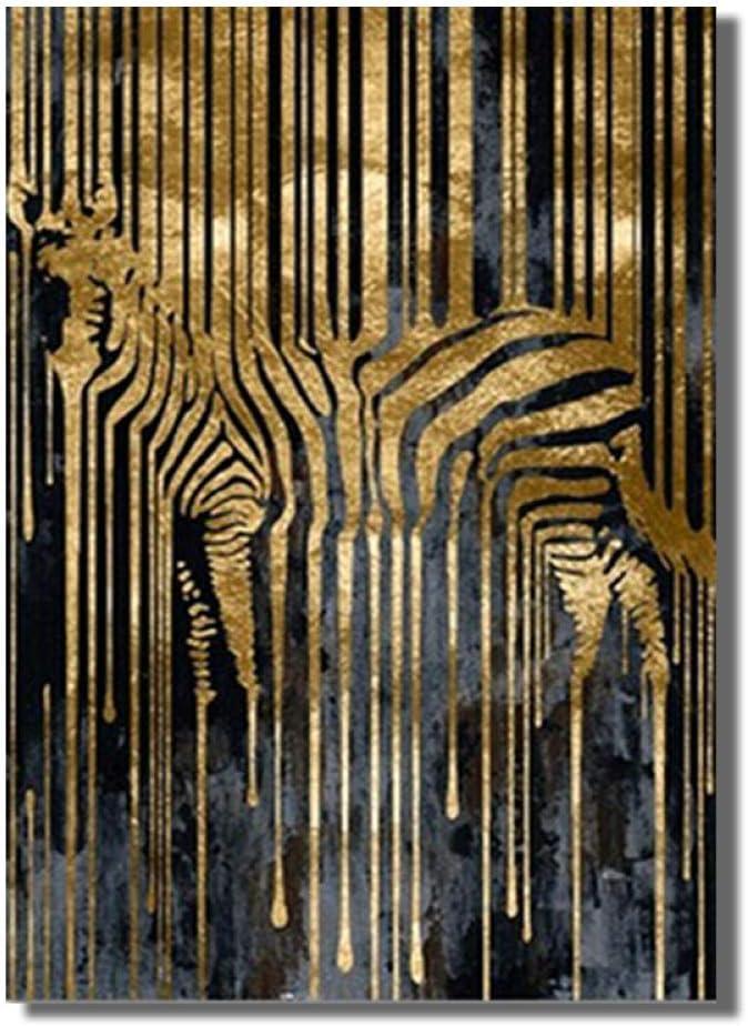 mmzki Decoraciones para dormio Arte Abstracto Cebra Dorada Lienzo nórdico Pintura Moderna Carteles e Impresiones Cuadros escandinavos Arte de Pared Imagen para Sala de Estar No Frame
