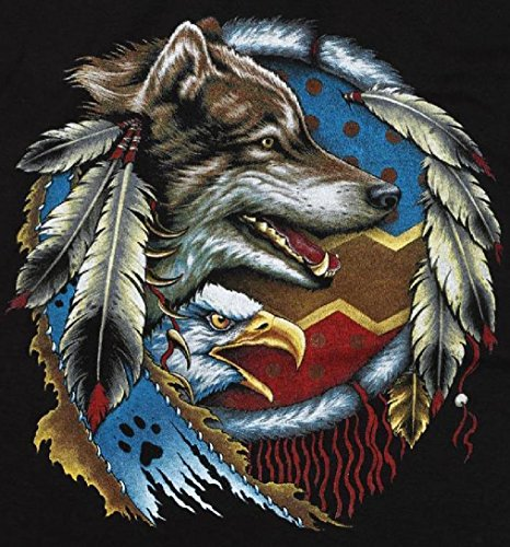 Wolf & Eagle Head Dreamcatcher Black Tee Shirt Size Xxl Adult T293 Tshirt Wolves (Ladies Police Tie Front Shirt)