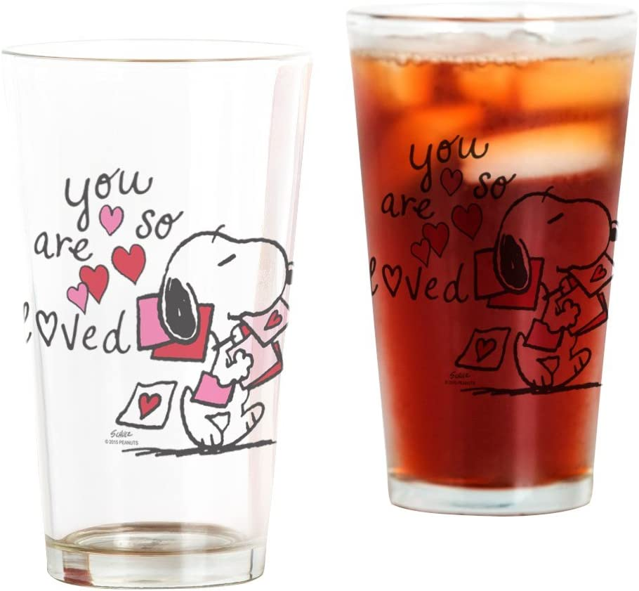 16 oz CafePress Snoopy You Are So Loved Pint Glass Drinking Glass