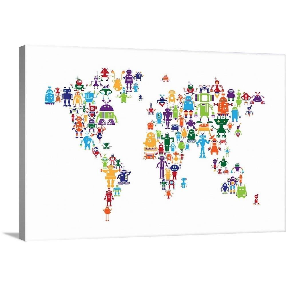 マイケルTompsettプレミアムシックラップキャンバス壁アート印刷題名ロボットMap of theワールドマップ 36