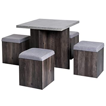 Miraculous Homcom 5Pc Dining Set Indoor Outdoor Garden Patio Wooden Set 4 Storage Stools Footrest Ottoman With Cushions 1 Table Space Saving Design Download Free Architecture Designs Rallybritishbridgeorg