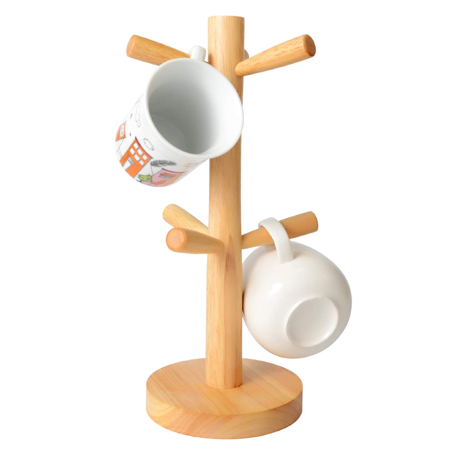 MEYUEWAL Wood Mug Tree,Mug Holder with 6 Storage Hooks,Removable Wood Mug Stand, for Kitchen Cups Organizer,Coffee Mug Drying,Creative Jewelry Holder Storage Racks