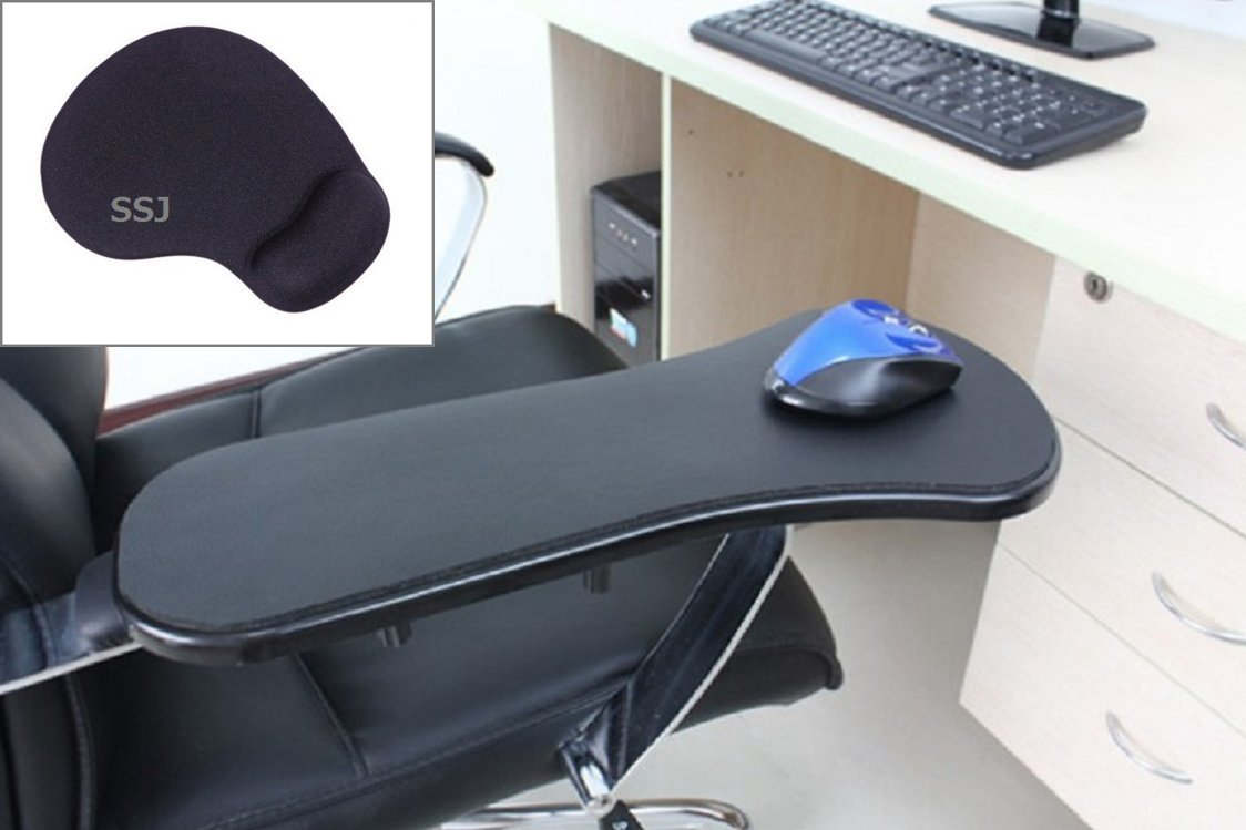 SSJ:Home Office Computer Arm Rest Chair Armrest Plus Mouse Pad Mat Wrist Support (Black)