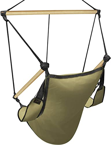 Flexzion Hanging Hammock Chair Air Swing Lounger Upgraded 350lbs Zero Gravity Relaxing w/Foot Stand Solid Wooden Dowels Portable Bag/F Adults Outdoor Indoor Patio Camping Bedroom Rope Tan