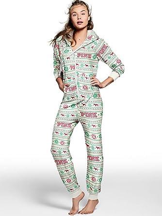 Victorias Secret Pink Sherpa Holiday Long Zip Up Onesie Pajamas Sz XSmall NWT