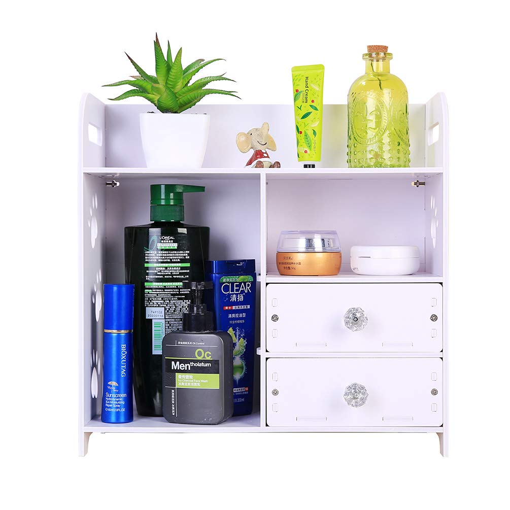 Honean Beauty Makeup Organizer with drawers, Wood Plastic Cosmetic Vanity Holder, Small Bathroom Counter Storage, Non-drilling Wall Mounted Hanging Shelf, White (Up&down drawers)