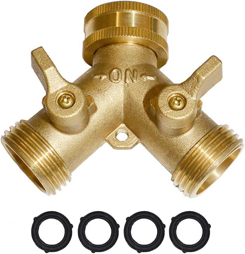 "Garden Hose Y Valve Connectors Brass Hose Splitter with Solid Brass Handle Brass Y Valve Water Garden Hose Adapter 2 Way Y Valve 3/4"" GHT Thread Extra 4 Presure washers (1)"