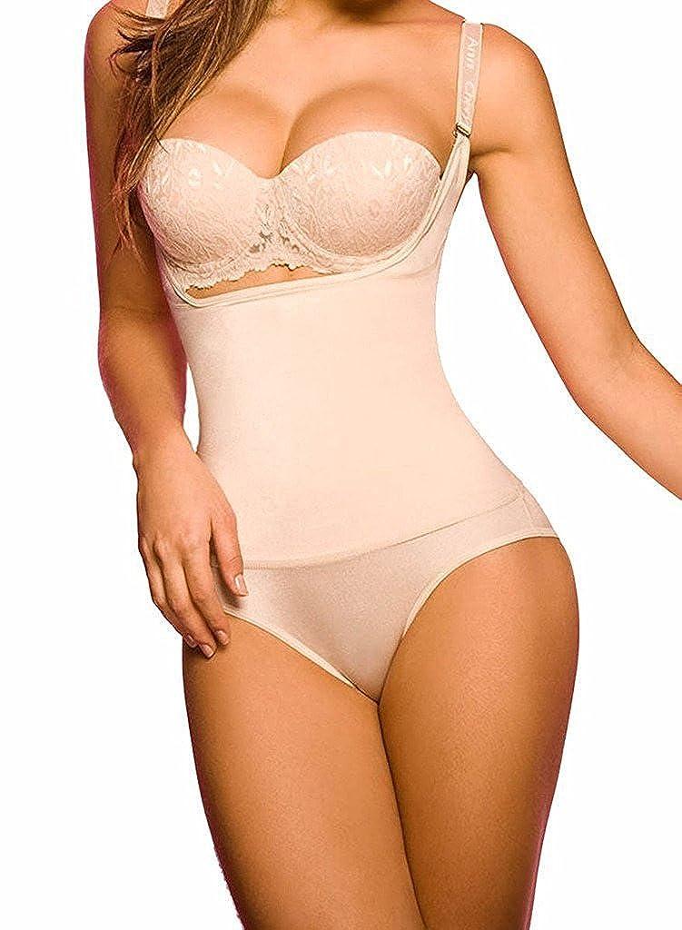 2cf013264197a SHAPERX Women Seamless Firm Control Shapewear Faja Open Bust Bodysuit Body  Shaper