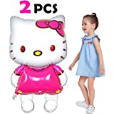 "Pawliss Hello Kitty Airwalker Foil Mylar Helium Balloon Birthday Party Decoration Supplies, Large Size 33"", 2 Pack"