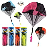 DEBON 4 Pack Tangle Free Throwing Toy Interesting Hand Throw Parachute Army Man Toss It Up and watch Landing Party Favor Outdoor Children's Flying Toys for Kids Sports Toy Education Toy Intelligence T