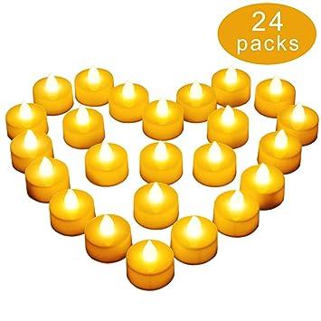 Diyife Vela LED, [24 PC] Luces de Té sin Llama Velas Led de Té Velas Eléctricas con Baterías [Amarillas Cálidas] Día de San Valentín, Halloween, ...
