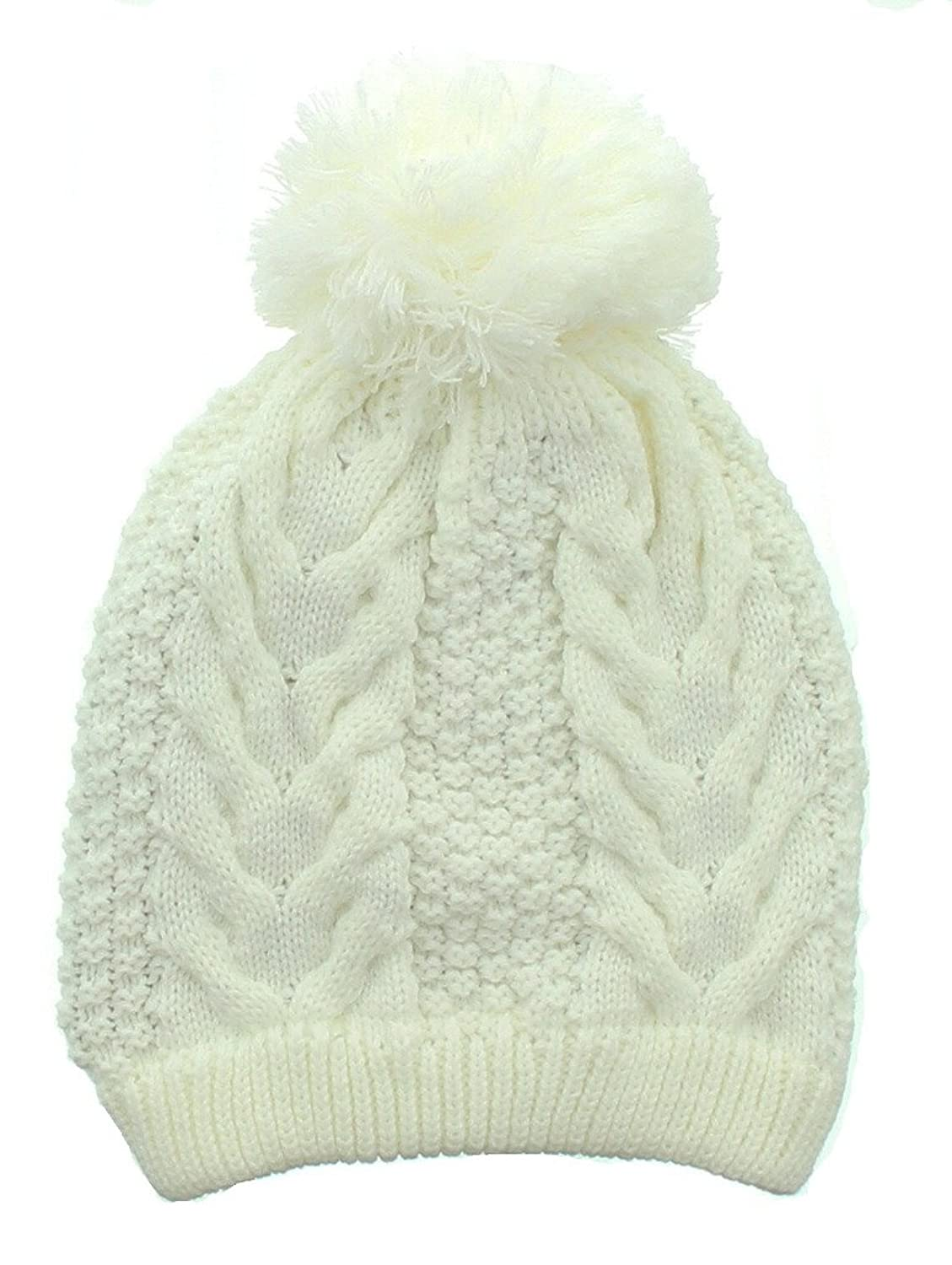 Milani Ribbed Cable Winter Wonderland Beanie with Pom Pom