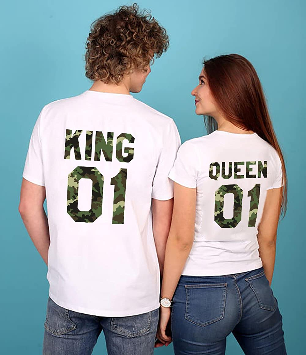577d830af8f5 Amazon.com  King Queen Shirts Couple Apparel Camouflage Matching Couples T- Shirt Cotton Gift  Clothing