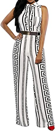 Pink Queen Womens Button Up Printed Long Wide Leg Pant Party Jumpsuits with Belt