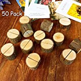 Aimyoo Wooden Card Holders Table Number Stands for Home Party Decoration Wedding Favors (Pack of 50)