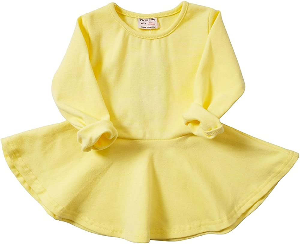 Infant Toddler Baby Girls Dress Pink Ruffle Long Sleeves Cotton