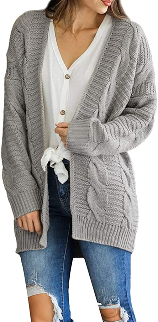 Women Lady Cardigan Loose Sweater Long Sleeve Knitted Jacket Coat Outwear