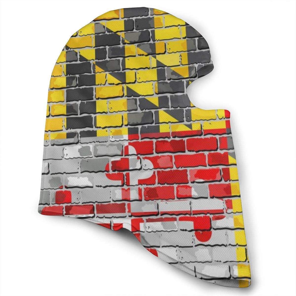 XCNGG Máscara Facial Completa Capucha Fag of Maryland Wall Sombreros Finos A Prueba de Viento Cómodo Sol Protección UV Bufanda Facial Suave Pañuelos multifuncionales para Hombres Mujeres Blanco