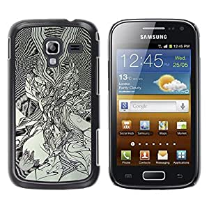 Qstar Arte & diseño plástico duro Fundas Cover Cubre Hard Case Cover para Samsung Galaxy Ace 2 I8160 / Ace2 II XS7560M ( Black White Art Drawing Graphic Painting)