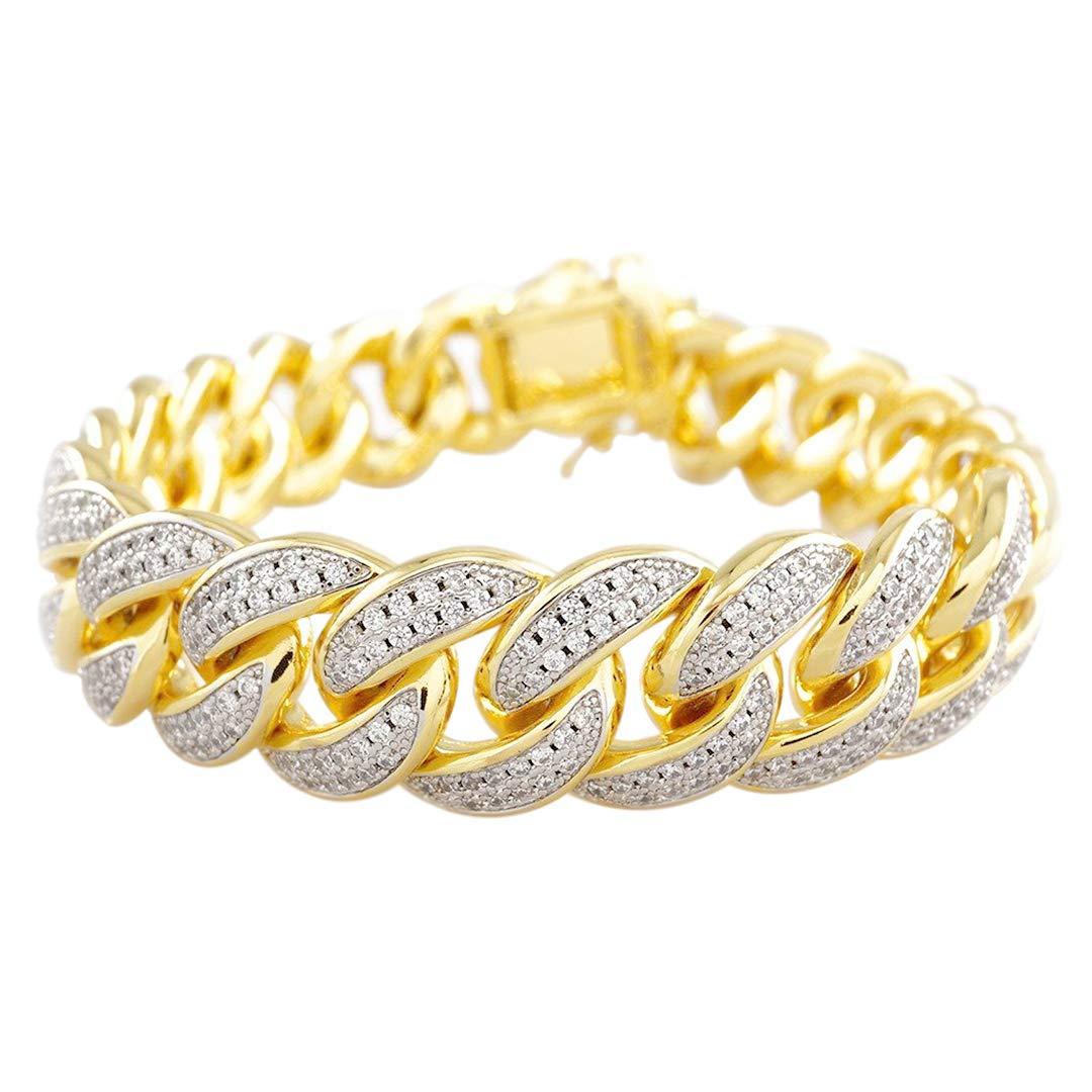 Amazon.com  NIV S BLING - 18K Yellow Gold-Plated Cubic Zirconia Cuban Link  Bracelet 0b8d2ab31