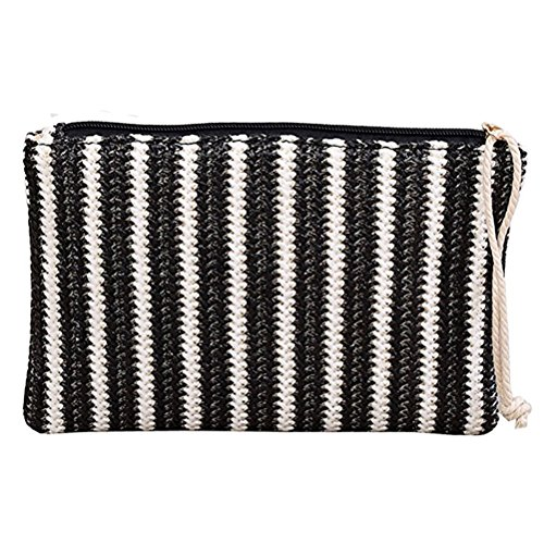 Donalworld Women Clutch Bag Summer Straw Stripe Crochet Handbag Zip Purse Black ()