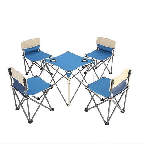 YuFLangel Juego de mesa y sillas plegables para exteriores ...