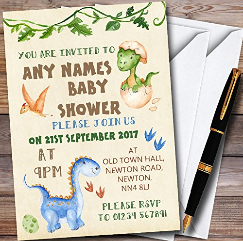 Watercolour Cute Dinosaur Boy Personalized Baby Shower Invitations
