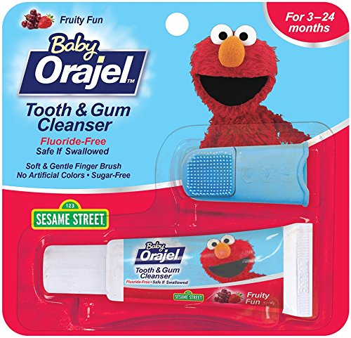 Orajel Baby Elmo Tooth and Gum Cleanser with Finger Brush, Fruity Fun, 0.7 Oz C&D748574