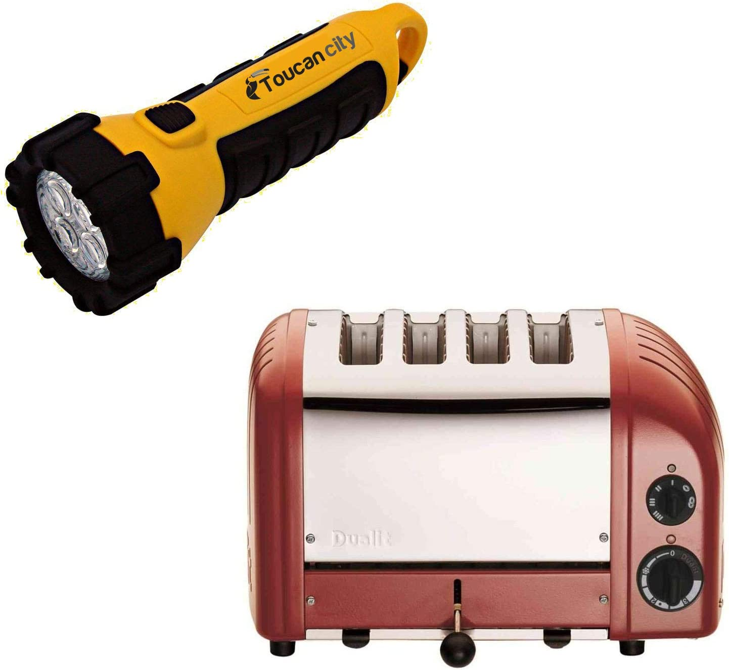 Toucan City LED Flashlight and Dualit New Gen 4-Slice Red Wide Slot Toaster with Crumb Tray 40417