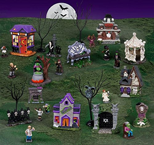 Tombstone Corners Halloween Village, 4 Complete Tombstone Sets, (Halloween Village Sets)