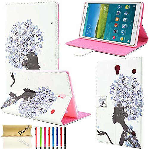 (Galaxy Tab S 8.4 Case, Dteck(TM) Lovely Colorful Girls Bling Crystal Diamond Flip Stand case [Magnetic Closure] Case for Samsung Galaxy Tab S 8.4 Inch SM-T700 Tablet (03 Purple Dandelion Girl))
