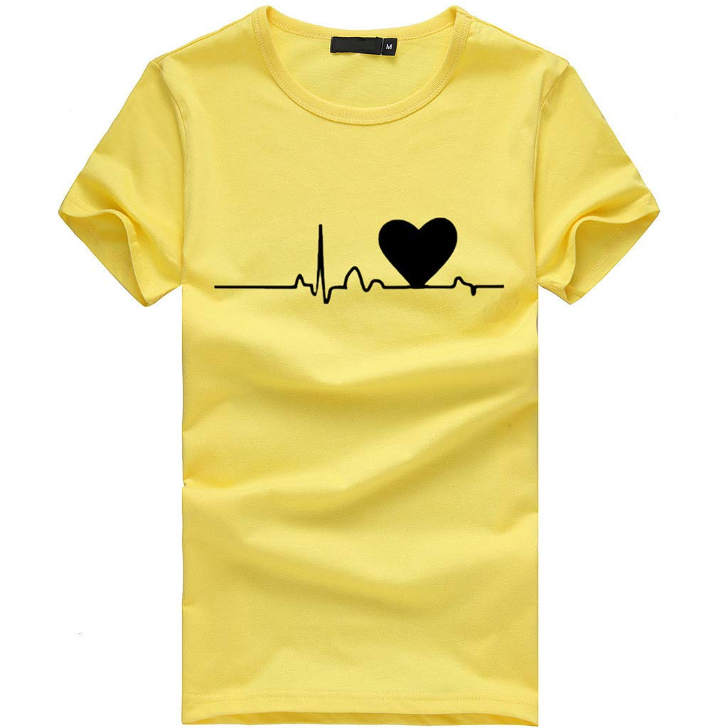 EOWEO Big Sale!2019 Women's Women's Big Chest T-Shirt Shirt Short SleeveT-Shirt Shirt Top(Small,Yellow)