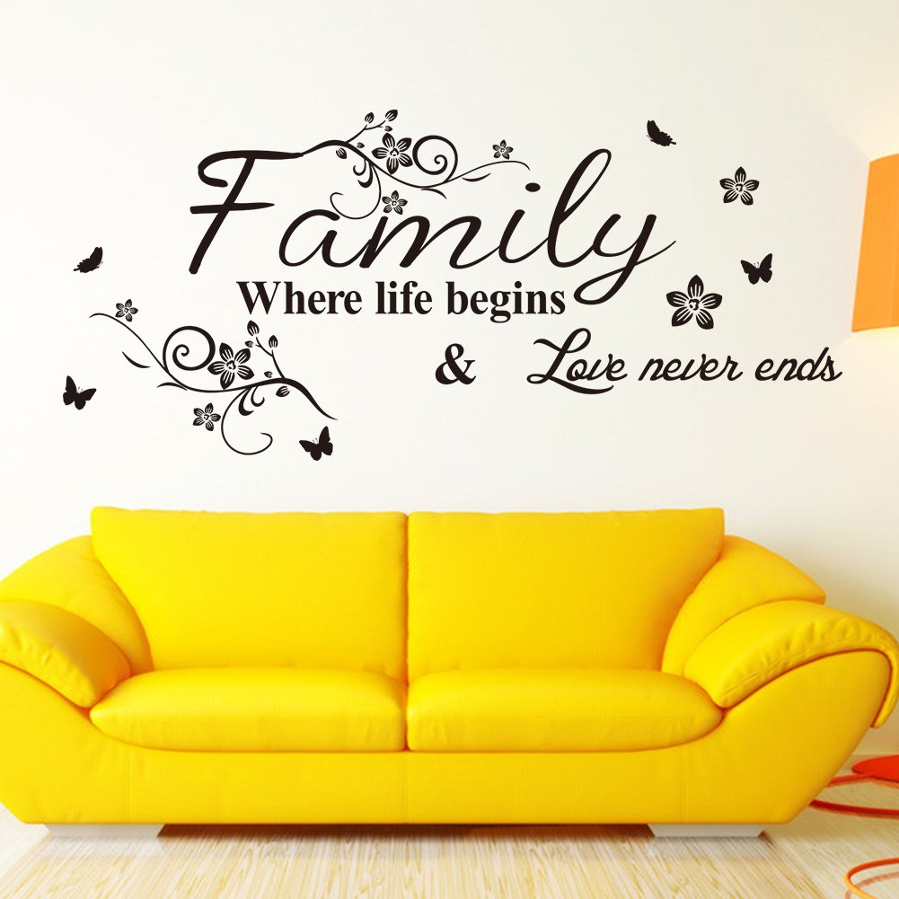 Amazon.com: Family Where Life Begins Love Never Ends with Flowers ...