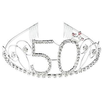925c1571da SUMERSHA 50th Birthday Tiara Rhinestone Crystal Crown Party Hair Decoration  Number 50 Happy...
